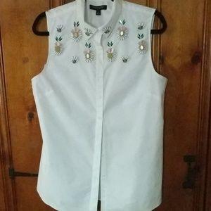 Banana Republic white embellished blouse